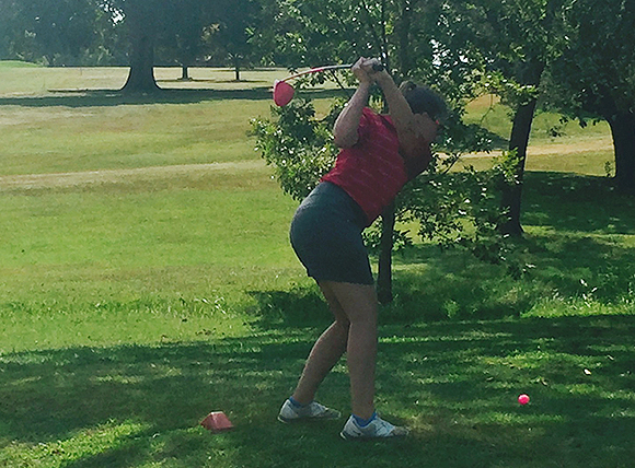 Lauren Bales Teeing Off in FIRST LADY CRUSADER TOURNEY - a par!