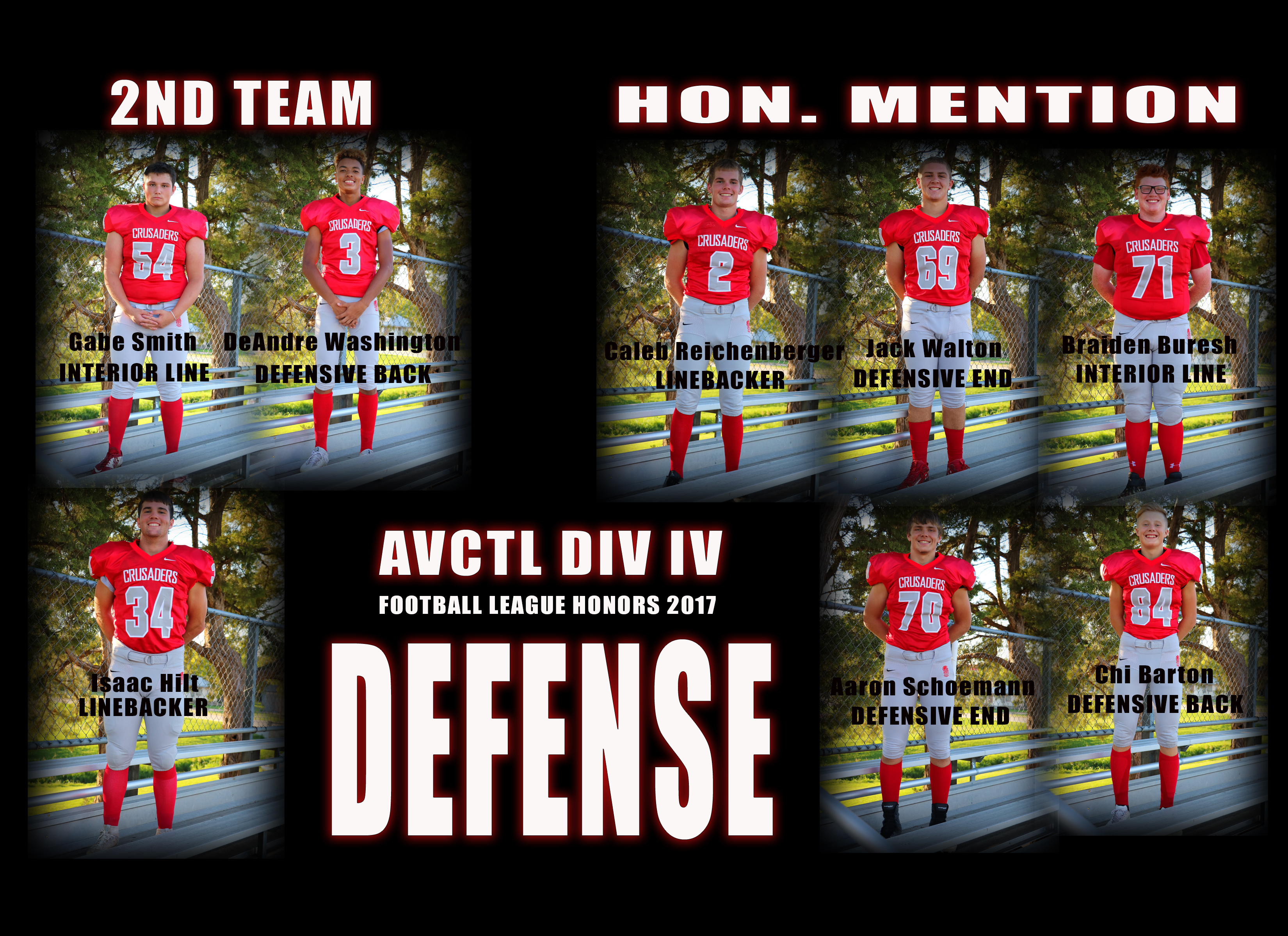 Defensive League Honors AVCTL DIV IV 2017