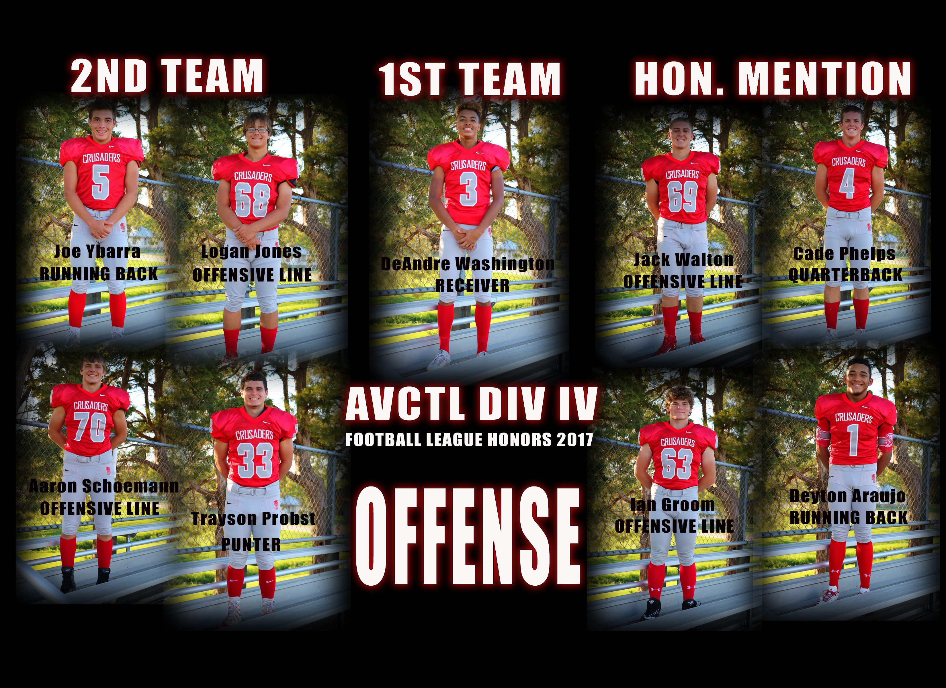 Offensive League Honors AVCTL DIV IV 2017