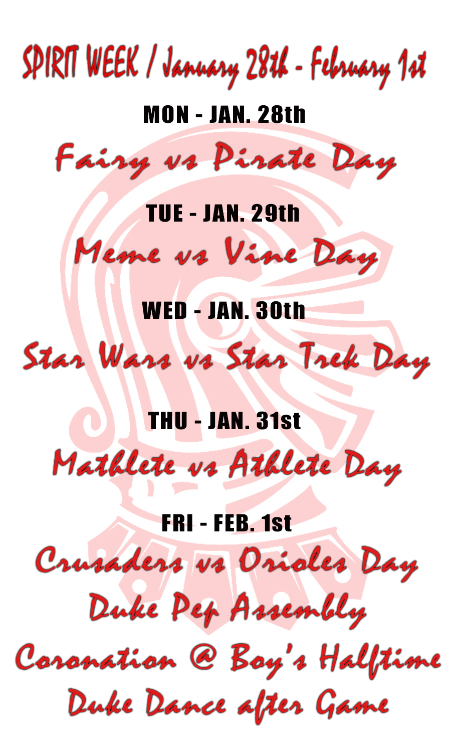 Daily Themes at WHS - Spirit Week Spring 2019